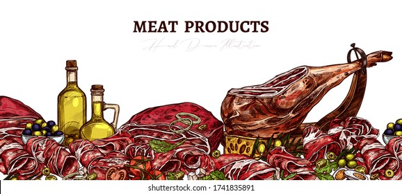 Meat farm food background with beef, steak, jamon, pig leg, pork and beefsteak. Butchery products with vegetables, salad, greenery and olive oil. Sketch hand drawn horizontal banner for menu