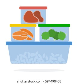 Meat, Fish, broccoli and beans in plastics containers for refrigerated storage vector flat material design isolated on white