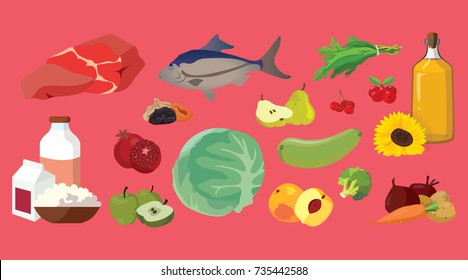 Meat, fish, butter, fruits, vegetables, dairy products - useful products. For your convenience, each significant element is in a separate layer. Eps 10