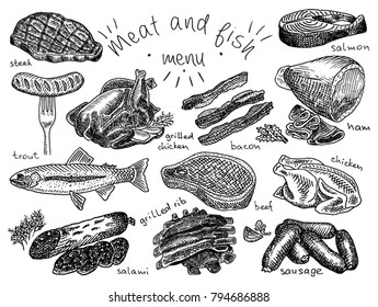 Meat, fish, menu, steak, trout, salami, ribs, grilled ribs, grilled chicken, sausage, chicken, beef, bacon, ham, salmon, salmon steak, herbs