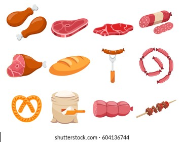 Meat flour and bread flat food icons set vector. Fresh meat icon
