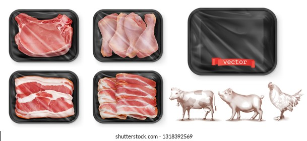 Meat food. Beef, pork, chicken legs. Black polystyrene packaging. 3d vector realistic set. High quality 50Mb eps
