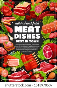 Meat food dishes, pork and lamb ribs, sausages and beef. Vector butchery food, pork steak and bacon with vegetables and greens. Salami and chicken leg, grilled wurst, pepperoni and gammon