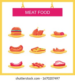 Meat Food on the plate icon set. vector illustration with flat design, simple, trendy and new design