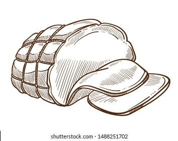 Meat food, sausage or ham in rope net isolated sketch vector. Butchery product, cooking and culinary, dish ingredient or snack. Cuisine and meal, animal origin, cooked pork, cutting slice drawing