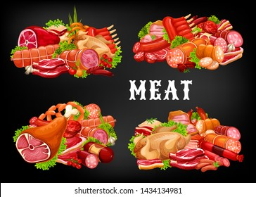 Meat food vector icons with sausages and green herbs. Beef and pork steaks, ham, salami and bacon, chicken, bbq lamb ribs and burger patty, pepperoni, frankfurter and turkey. Meat store, butcher shop