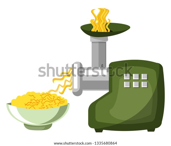 Meat Grinder Pasta Machine Green Color Stock Vector (Royalty