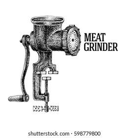Meat grinder. Vintage kitchen equipment. Engraved illustration. Vector illustration