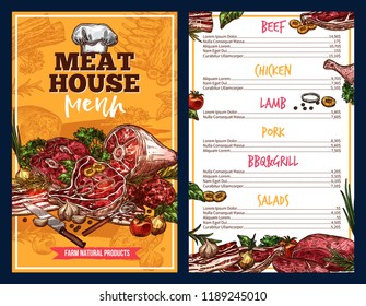 Meat house menu, vector farm natural products sketch. Beef and chicken, lamb pork, bbq and grill dishes, steaks with tomatoes, onion and garlic, salads as garnish. Butchery shop food