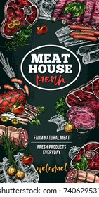 Meat house poster of sausage delicatessen and natural fresh farm meat. Vector sketch meaty pork filet, beef steak or beefsteak and deli butchery product brisket, ham bacon or pepperoni and cervelat