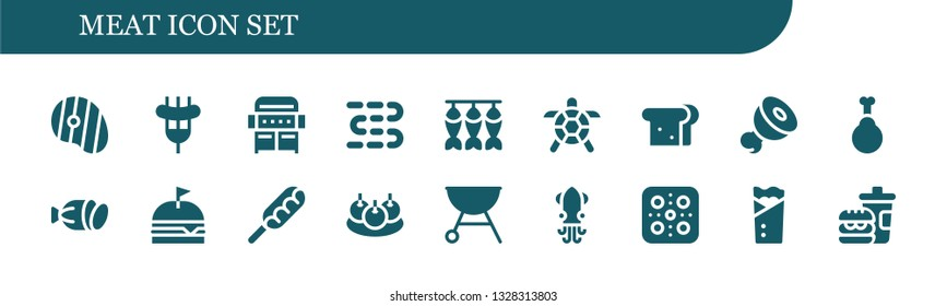 meat icon set. 18 filled meat icons.  Simple modern icons about  - Steak, Sausage, Grill, Sausages, Dried fish, Turtle, Sandwich, Meat, Chicken, Salami, Burger, Hot dog, Bitterballen