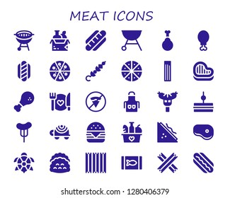 meat icon set. 30 filled meat icons. Simple modern icons about  - Bbq, Food, Hot dog, Grill, Chicken, Chicken leg, Pizza, Skewer, Churros, Steak, No fast food, Apron, Sausage