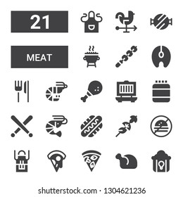 meat icon set. Collection of 21 filled meat icons included Fried chicken, Chicken, Pizza, Apron, No fast food, Skewer, Hot dog, Shrimp, Drumsticks, Protein, Grill, Chicken leg
