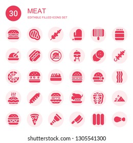 meat icon set. Collection of 30 filled meat icons included Hamburguer, Meat, Skewer, Mitt, Grill, Chicken, Sausage, No fast food, Pizza, Hamburger, Dumpling, Burger, Pie, Pork