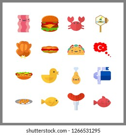 meat icon. turkey and hamburger vector icons in meat set. Use this illustration for meat works.