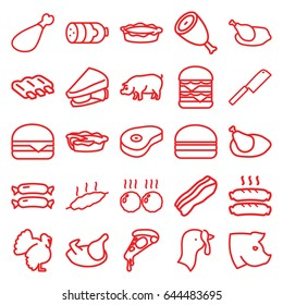 Meat icons set. set of 25 meat outline icons such as pig, turkey, chicken, sausage, beef, pizza, sandwich, double burger, cheeseburger, burger, pie, bacon