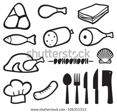 Meat Icons Set Chef Hat Knife Stock Vector Royalty Free 106351313
