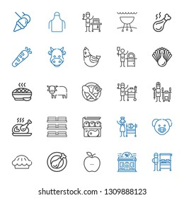 meat icons set. Collection of meat with burning grill, restaurant, healthy food, chicken leg, pie, pig, rotisserie, dishes, turkey, tandoor. Editable and scalable meat icons.