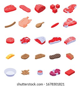 Meat icons set. Isometric set of meat vector icons for web design isolated on white background