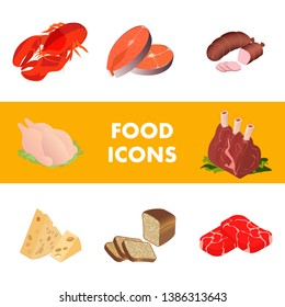 Meat, Marine Products Realistic Illustrations Set. Butcher Shop Isometric Poster Template. Fresh Food Assortment Typography. 3d Beef Steak, Entrecote, Lobster, Cheese, Bread, Salmon Icons Collection
