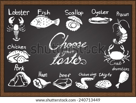 meat menu on chalkboard design template stock vector royalty free