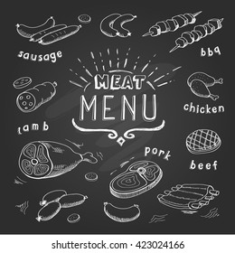 Meat menu on chalkboard. Set of meat symbols, beef, pork, chicken, lamb. Vector Illustration