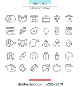 Meat and milk thin line icons set. Vector Illustration
