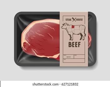 Meat packaging steak vector illustration of beef