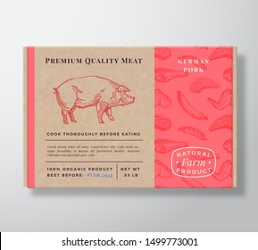 Meat Pattern Realistic Cardboard Box Container. Abstract Vector Packaging Design or Label. Modern Typography, Hand Drawn Pig Silhouette. Craft Paper Pork Background Layout. Isolated.