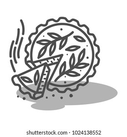 Meat pie, quiche vector line two color illustration. Hot, fresh, tasty and organic. Bakery shop web graphics, advertisements, brochures, business templates. Isolated on a white background.