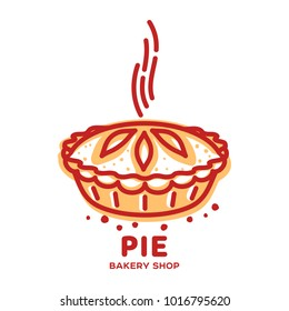 Meat pie, roll, quiche vector line logo templates. Two color illustration. Hot, fresh and tasty. Bakery shop menu, advertisements, brochures, business templates. Isolated on a white background.