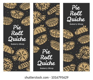 Meat pie, roll, quiche vector set banner illustration. Hot, fresh and tasty. Bakery shop menu, recipe, web graphics, advertisements, brochures, business templates Isolated on a white background