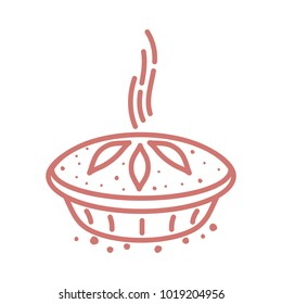 Meat pie, roll, quiche vector line two color illustration. Hot, fresh, tasty and organic. Bakery shop web graphics, advertisements, brochures, business templates. Isolated on a white background.