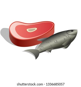 Meat piece and Fish icon symbol of product category in supermarket meat, fish and poultry isolated on white background. Vector illustration