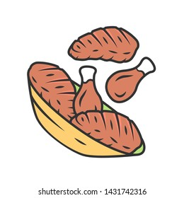 Meat plate color icon. Steak and chicken drumsticks. Butcher shop product. Restaurant, grill bar, steakhouse menu. BBQ party. Farming meat. Meat cookery. Isolated vector illustration