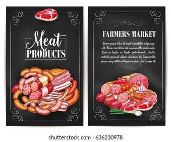 Meat products of farmers market. Butchery shop meat delicatessen of ham or bacon brisket, butcher gourmet gastronomy of frankfurter or saveloy sausages and cervelat, pork lard, salami and steak.