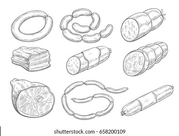 Meat products sketch vector icons. Isolated symbols of sausages, meat delicatessen of ham or bacon and barbecue brisket, butcher gourmet gastronomy of salami and steak for farmers market