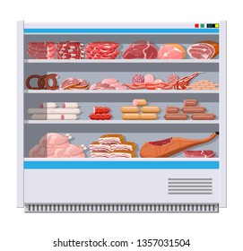 Meat products in supermarket fridge. Meat store butcher shop showcase counter. Sausage slices product. Delicatessen gastronomic product of beef pork chicken salami. Vector illustration flat style