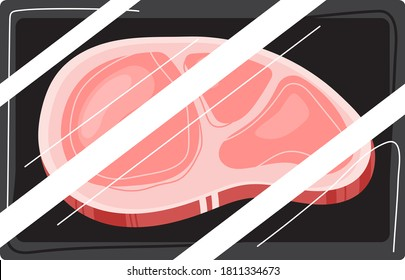 Meat red steak, beef fillet, barbecue chop, raw bossy slice, cut pork, isolated on white, design, flat style vector illustration. Fresh ingredient, pork menu, portion roast, close-up background.