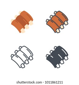 Meat Ribs food flat line icon
