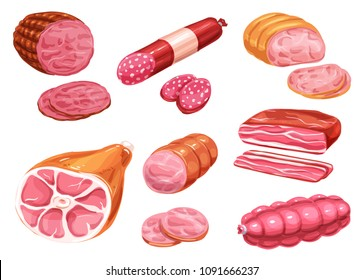 Meat sausage icon of butcher shop product. Beef and pork sausage, salami and ham, bacon, smoked frankfurter and pepperoni, gammon and bologna hand drawn watercolor illustration for meat store design