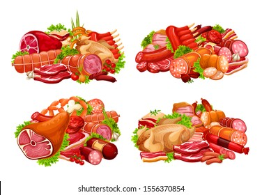 Meat and sausage with spice herb vector icons. Beef steaks, pork ribs and ham, salami, bacon and smoked frankfurter, chicken, turkey, barbeque burger and lettuce salad leaves. Butcher shop design