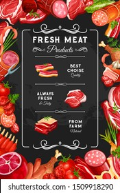 Meat and sausages, farm butcher shop poster. Vector gourmet delicatessen, beef steak or pork ham and chicken or turkey leg with brisket, salami and cervelat smoked wursts, mutton ribs
