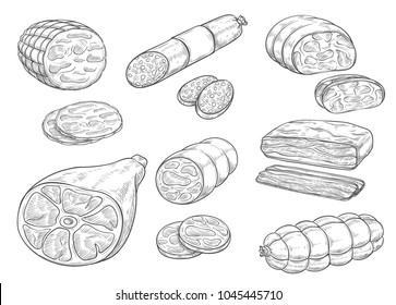 Meat and sausages sketch icons. Vector isolated meat delicatessen of curry wurst or salami and pepperoni cervelat, smoked pork bacon and fresh veal sausage or hamon ham for grocery store