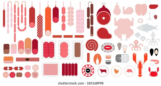 Meat & Seafood icon set