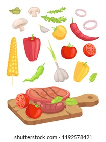 Meat served on board isolated icons set vector. Vegetables and roasted steak mushroom and corn. Garlic and pepper onion rings and herbs paprika veg
