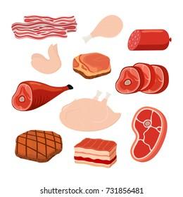 Meat set - bacon, chicken, ham, smoked pork, jamon, hamon. Made in cartoon flat style. Vector illustration