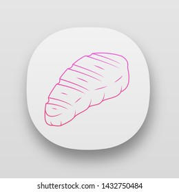 Meat steak app icon. Butcher shop product. Restaurant, grill bar, steakhouse menu. Grilled, barbecue food. Meat cookery. UI/UX user interface. Web or mobile applications. Vector isolated illustrations