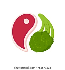 Meat steak and broccoli in Yin Yang shape, healthy balanced meal vector illustration.