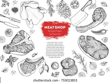 Meat top view frame. Vector illustration. Engraved design. Hand drawn illustration. Pieces of meat design template.